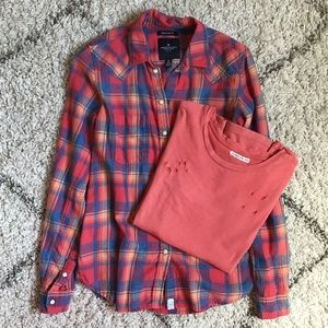Bundle flannel & Distressed Tee